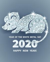 Buon Anno del ratto di metallo bianco